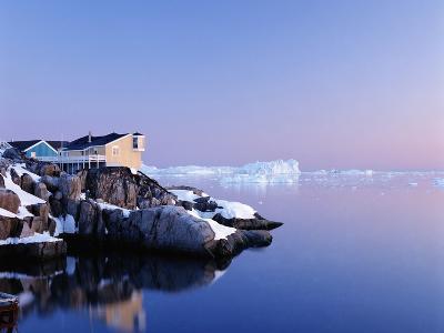 Houses on the Coastline with Icebergs, Disko Bay-Design Pics Inc-Photographic Print