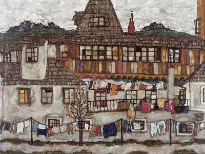 Houses with Clothes Drying, 1917-Egon Schiele-Giclee Print