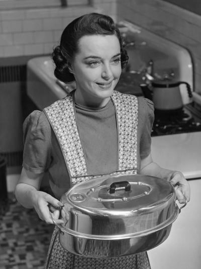 Housewife Hoding Roasting Pan-George Marks-Photographic Print