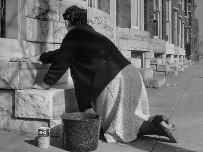 Housewife Washing Her White Stoop During Part of Her Daily Routine-Margaret Bourke-White-Photographic Print