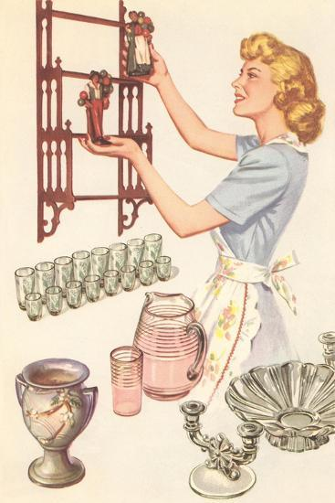 Housewife with Wall-Mount Etagere--Art Print