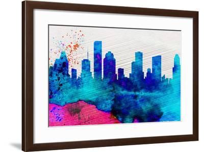 Houston City Skyline-NaxArt-Framed Art Print