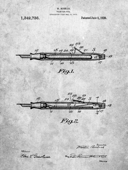 Houston Fountain Pen Company 1920 Patent-Cole Borders-Art Print