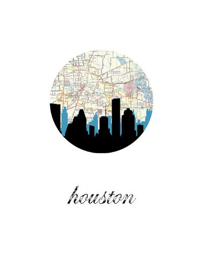 Houston Map Skyline--Art Print