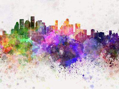 Houston Skyline in Watercolor Background-paulrommer-Art Print