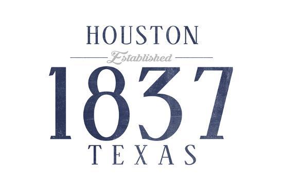 Houston, Texas - Established Date (Blue)-Lantern Press-Art Print