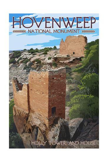 Hovenweep National Monument, Colorado - Holly Tower and House-Lantern Press-Art Print