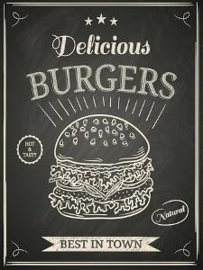 Burger House Poster on Chalkboard by hoverfly