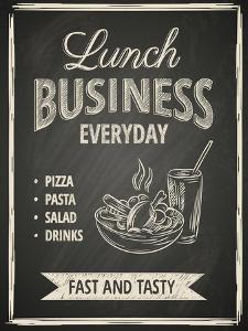 Business Lunch Poster on Blackboard by hoverfly