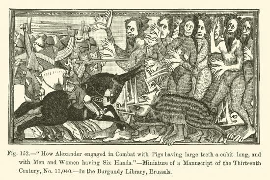 How Alexander Engaged in Combat with Pigs Having Large Teeth a Cubit Long--Giclee Print
