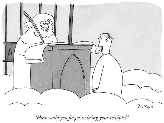 """""""How could you forget to bring your receipts?"""" - New Yorker Cartoon-Peter C. Vey-Premium Giclee Print"""