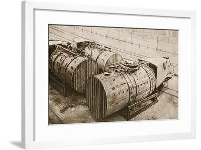 How German Submarines Were Packed for Travelling by Rail--Framed Photographic Print