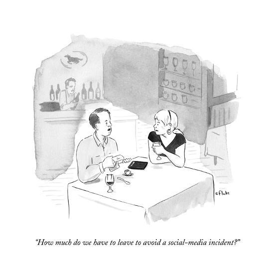 """""""How much do we have to leave to avoid a social-media incident?"""" - New Yorker Cartoon--Premium Giclee Print"""