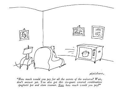 """""""How much would you pay for all the secrets of the universe? Wait, don't a?"""" - New Yorker Cartoon-Michael Maslin-Premium Giclee Print"""