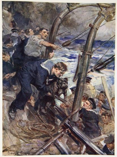 How Norah the Bulldog Was Saved from the Sinking Battleship-Cyrus Cuneo-Giclee Print