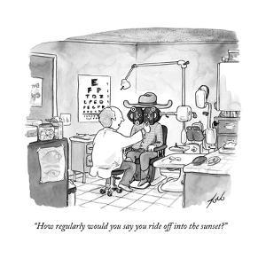 """""""How regularly would you say you ride off into the sunset?"""" - New Yorker Cartoon"""