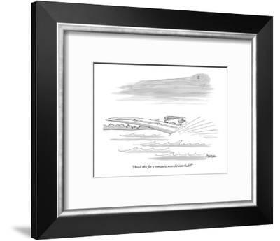 """""""How's this for a romantic moonlit interlude?"""" - New Yorker Cartoon-Jack Ziegler-Framed Premium Giclee Print"""