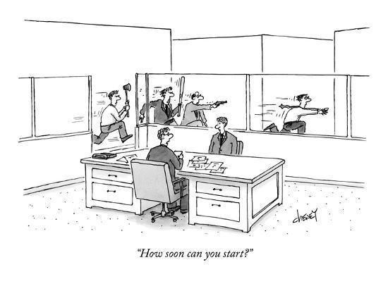 """How soon can you start?"" - New Yorker Cartoon-Tom Cheney-Premium Giclee Print"