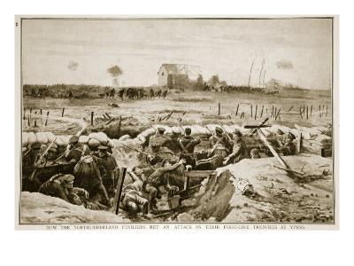How the Northumberland Fusiliers Met an Attack on their First-Line Trenches at Ypres, 1914-19--Giclee Print