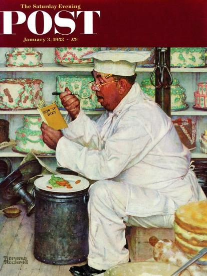 """""""How to Diet"""" Saturday Evening Post Cover, January 3,1953-Norman Rockwell-Giclee Print"""
