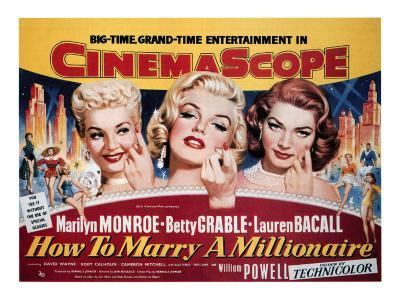 How To Marry A Millionaire, Betty Grable, Marilyn Monroe, Lauren Bacall, 1953--Photo