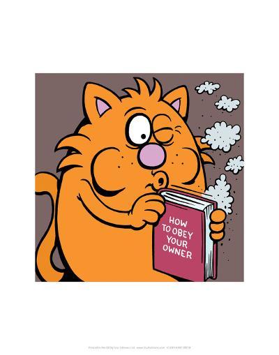 How To Obey Your Owner Manual - Antony Smith Learn To Speak Cat Cartoon Print-Antony Smith-Art Print