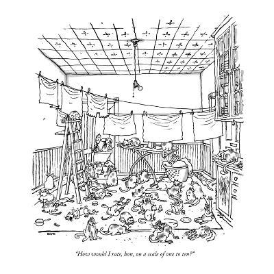 """""""How would I rate, hon, on a scale of one to ten?"""" - New Yorker Cartoon-George Booth-Premium Giclee Print"""