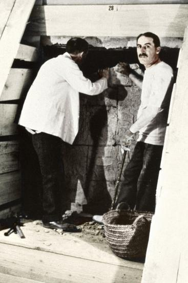 Howard Carter and a Colleague Excavating a Tomb in the Valley of the Kings, Egypt, 1922-Harry Burton-Giclee Print