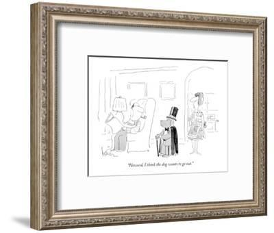 """""""Howard, I think the dog wants to go out."""" - New Yorker Cartoon-Arnie Levin-Framed Premium Giclee Print"""