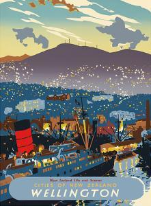 Wellington, New Zealand - The City at Night & RMS Queen Mary I Ocean Liner docked in the Harbor by Howard Malitte