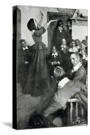 """Anne Hutchinson Preaching in Her House in Boston, 1637, Illustration from """"Colonies and Nation"""""""