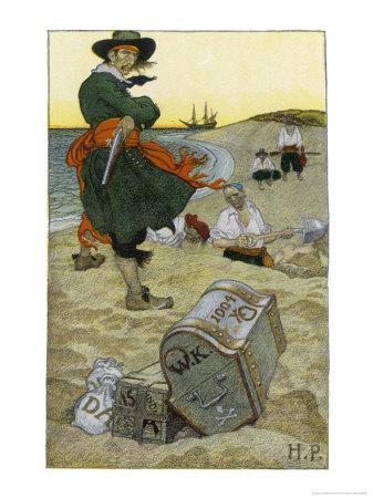 Captain Kidd Buries His Treasure