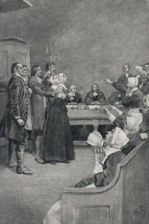 Witch Trial in Massachusetts, The Accusing Girls Point at the Victim