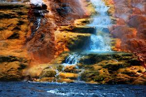 Mammoth Hot Springs Waterfall by Howard Ruby