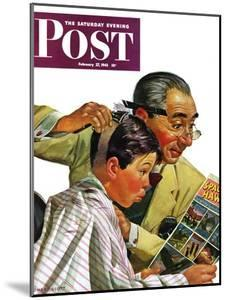 """""""Comical Haircut,"""" Saturday Evening Post Cover, February 27, 1943 by Howard Scott"""