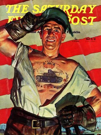 """Tank Tattoo,"" Saturday Evening Post Cover, November 8, 1941"