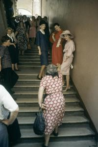 Dior Models in Stairwell for an Officially-Sanctioned Fashion Show, Moscow, Russia, 1959 by Howard Sochurek