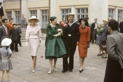 Dior Models Posing with Military Man in the Soviet Union, Moscow, Russia, 1959