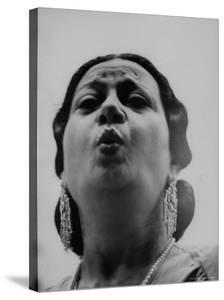 """Egyptian Actress Om Kalthoum, While Singing on Cairo's """"Voice of Arabs"""" Radio Show by Howard Sochurek"""