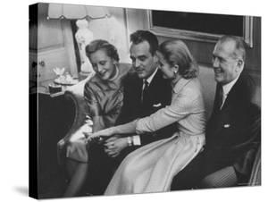 Grace Kelly with Her Fiance Prince Rainier During Announcement of the Engagement at Home by Howard Sochurek