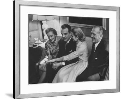 Grace Kelly with Her Fiance Prince Rainier During Announcement of the Engagement at Home