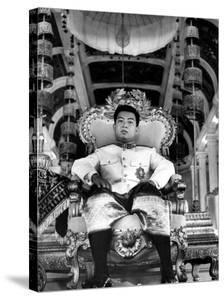 "King Norodom Sihanouk of Cambodia Sitting in His Throne Wearing ""Sampots"", Sarong Style Pants by Howard Sochurek"