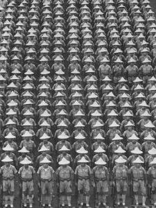 """Nationalist Chinese """"Boy Battalion"""" Soldiers, En Masse, in Line Formation, During Army Day Parade by Howard Sochurek"""
