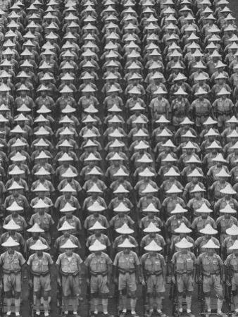 """Nationalist Chinese """"Boy Battalion"""" Soldiers, En Masse, in Line Formation, During Army Day Parade"""