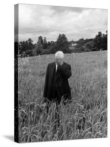 Poet Robert Frost Standing in Oxford Field with His Hand over His Face by Howard Sochurek