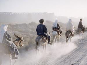 Russian Look of the Land Essay: Donkeys Carring Moslem Peasants on Dusty Road by Howard Sochurek