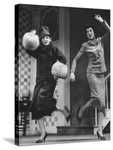 """Scenes from Stage Play """"Auntie Mame"""" Starring Rosalind Russell and Polly Rowles by Howard Sochurek"""