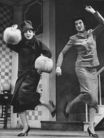 """Scenes from Stage Play """"Auntie Mame"""" Starring Rosalind Russell and Polly Rowles"""
