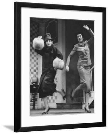 "Scenes from Stage Play ""Auntie Mame"" Starring Rosalind Russell and Polly Rowles"