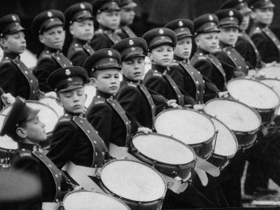 Young Military Cadet Drummers in May Day Parade